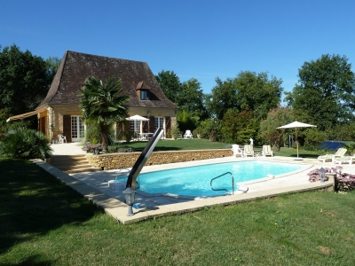 Attractive perigourdine style house with swimming pool, garage and garden